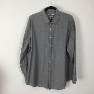 DKNY mens gray slim fit dress shirt XXL